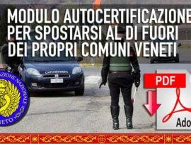 Autodichiarazione Coronavirus 12/2020, Ecco il modulo per i Veneti (e non solo) per spostarsi al di fuori dei propri Comuni aggiornato all'ultimo d.l. e DPCM del governo italiano