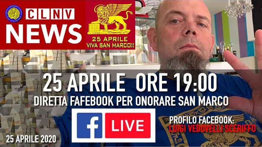 25 Aprile 2020 - Ore 19 Tutti in diretta Facebook per onorare San Marco.. condividete.